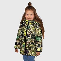 Куртка зимняя для девочки Стикер бомбинг цвета 3D-черный — фото 2