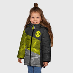 Куртка зимняя для девочки BVB FC: Dark polygons цвета 3D-черный — фото 2