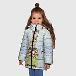 Детская зимняя куртка для девочки с принтом Кролик хипстер, цвет: 3D-черный, артикул: 10139174706065 — фото 2