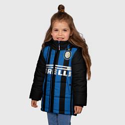 Детская зимняя куртка для девочки с принтом Inter FC: Home 17/18, цвет: 3D-черный, артикул: 10139225106065 — фото 2