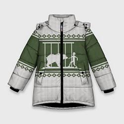 Куртка зимняя для девочки Медведь: Зимний узор цвета 3D-черный — фото 1