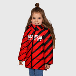 Куртка зимняя для девочки Mass Effect: Red Style цвета 3D-черный — фото 2