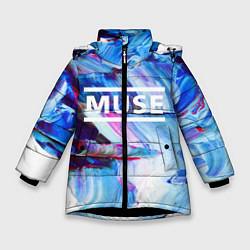 Куртка зимняя для девочки MUSE: Blue Colours цвета 3D-черный — фото 1