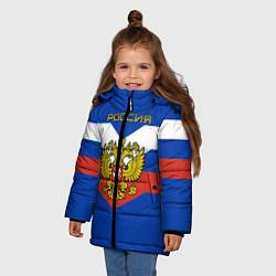 Куртка зимняя для девочки Россия: Триколор цвета 3D-черный — фото 2