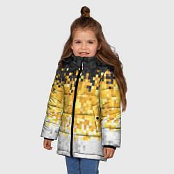 Куртка зимняя для девочки Имперский флаг пикселами цвета 3D-черный — фото 2