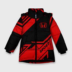 Куртка зимняя для девочки Honda: Techno Sport цвета 3D-черный — фото 1