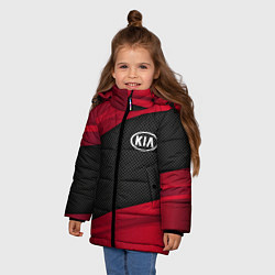 Детская зимняя куртка для девочки с принтом Kia: Red Sport, цвет: 3D-черный, артикул: 10152996306065 — фото 2