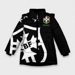 Детская зимняя куртка для девочки с принтом Brazil Team: Exclusive, цвет: 3D-черный, артикул: 10153704706065 — фото 1