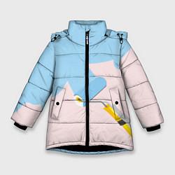 Детская зимняя куртка для девочки с принтом Голубая заливка, цвет: 3D-черный, артикул: 10157480706065 — фото 1
