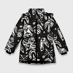 Куртка зимняя для девочки Сибирские мотивы цвета 3D-черный — фото 1