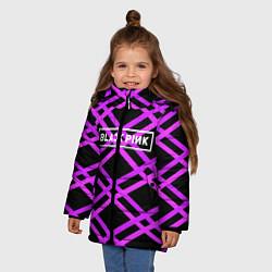 Куртка зимняя для девочки Black Pink: Neon Lines цвета 3D-черный — фото 2