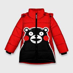 Детская зимняя куртка для девочки с принтом Kumamon Smile, цвет: 3D-черный, артикул: 10162548106065 — фото 1