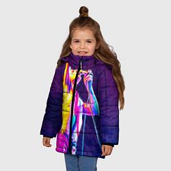 Куртка зимняя для девочки Bohemian Rhapsody: Neon Style цвета 3D-черный — фото 2