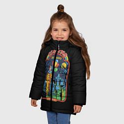 Детская зимняя куртка для девочки с принтом Clowns Are Funny, цвет: 3D-черный, артикул: 10170996306065 — фото 2