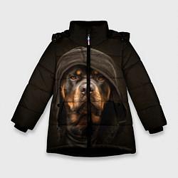 Куртка зимняя для девочки Ротвейлер в капюшоне цвета 3D-черный — фото 1