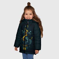Куртка зимняя для девочки Череп и золотой якорь цвета 3D-черный — фото 2