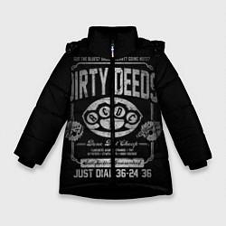 Куртка зимняя для девочки AC/DC: Dirty Deeds цвета 3D-черный — фото 1