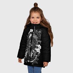 Детская зимняя куртка для девочки с принтом Японский дракон, цвет: 3D-черный, артикул: 10173336906065 — фото 2