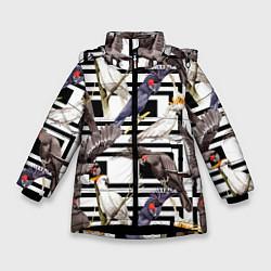 Куртка зимняя для девочки Попугаи Какаду цвета 3D-черный — фото 1