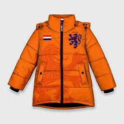 Куртка зимняя для девочки Сборная Голландии цвета 3D-черный — фото 1