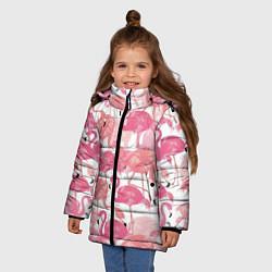 Куртка зимняя для девочки Рай фламинго цвета 3D-черный — фото 2