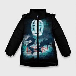 Куртка зимняя для девочки Бог быстрой янтарной реки цвета 3D-черный — фото 1