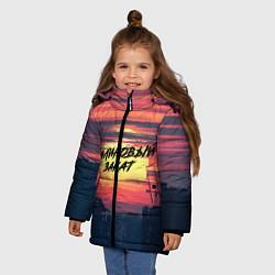 Куртка зимняя для девочки Макс Корж: Малиновый закат цвета 3D-черный — фото 2