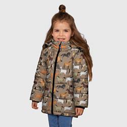Куртка зимняя для девочки Кони-лошади цвета 3D-черный — фото 2