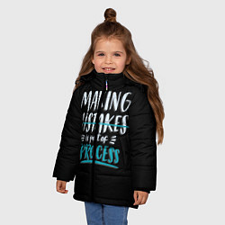 Куртка зимняя для девочки Ошибки - часть прогресса цвета 3D-черный — фото 2