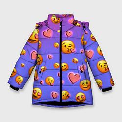 Куртка зимняя для девочки Очень много эмодзи цвета 3D-черный — фото 1