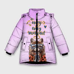 Куртка зимняя для девочки Енот цвета 3D-черный — фото 1