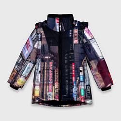 Куртка зимняя для девочки Ночной Токио цвета 3D-черный — фото 1