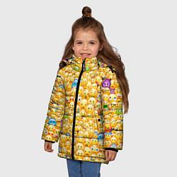 Куртка зимняя для девочки Смайлики Emoji цвета 3D-черный — фото 2