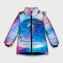Куртка зимняя для девочки Космонавт - космос цвета 3D-черный — фото 1