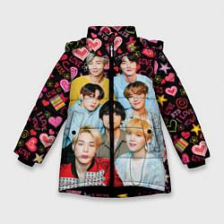 Куртка зимняя для девочки I Love BTS цвета 3D-черный — фото 1