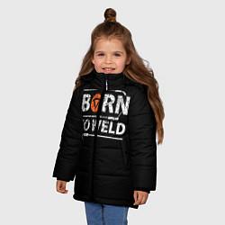 Куртка зимняя для девочки Рожден для сварки цвета 3D-черный — фото 2