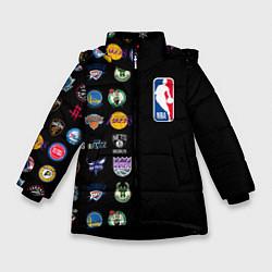 Куртка зимняя для девочки NBA Team Logos 2 цвета 3D-черный — фото 1