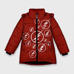 Куртка зимняя для девочки The Flash Logo цвета 3D-черный — фото 1