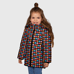 Детская зимняя куртка для девочки с принтом Pacman, цвет: 3D-черный, артикул: 10221375506065 — фото 2
