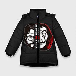 Куртка зимняя для девочки La casa de papel цвета 3D-черный — фото 1