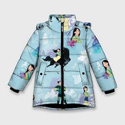 Куртка зимняя для девочки Mulan Pattern цвета 3D-черный — фото 1