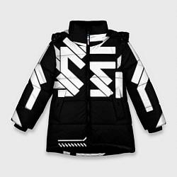 Куртка зимняя для девочки КИБЕРПАНК СИМВОЛ цвета 3D-черный — фото 1