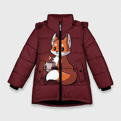 Куртка зимняя для девочки Кофе любят не только люди цвета 3D-черный — фото 1
