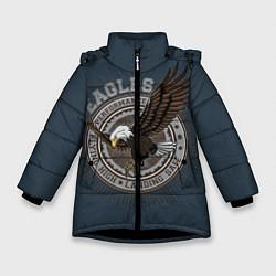 Детская зимняя куртка для девочки с принтом Летящий орёл, цвет: 3D-черный, артикул: 10272060106065 — фото 1