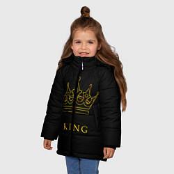 Куртка зимняя для девочки KING цвета 3D-черный — фото 2