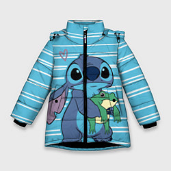 Куртка зимняя для девочки Стич с лягушкой цвета 3D-черный — фото 1