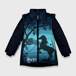 Куртка зимняя для девочки Конь цвета 3D-черный — фото 1