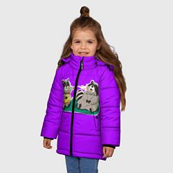 Куртка зимняя для девочки Еноты хавают цвета 3D-черный — фото 2