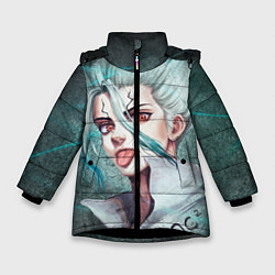 Куртка зимняя для девочки Доктор Стоун цвета 3D-черный — фото 1