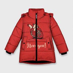 Куртка зимняя для девочки I love you цвета 3D-черный — фото 1
